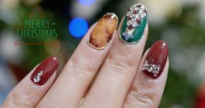 クリスマスにぴったりな冬ネイル『クリスマスツリーネイル』